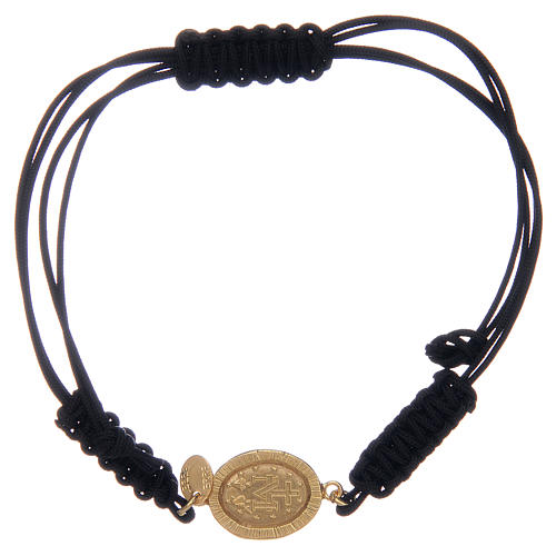 Bransoleta linka srebro 925 Cudowny Medalik pozłacany cyrkonie czarne 2