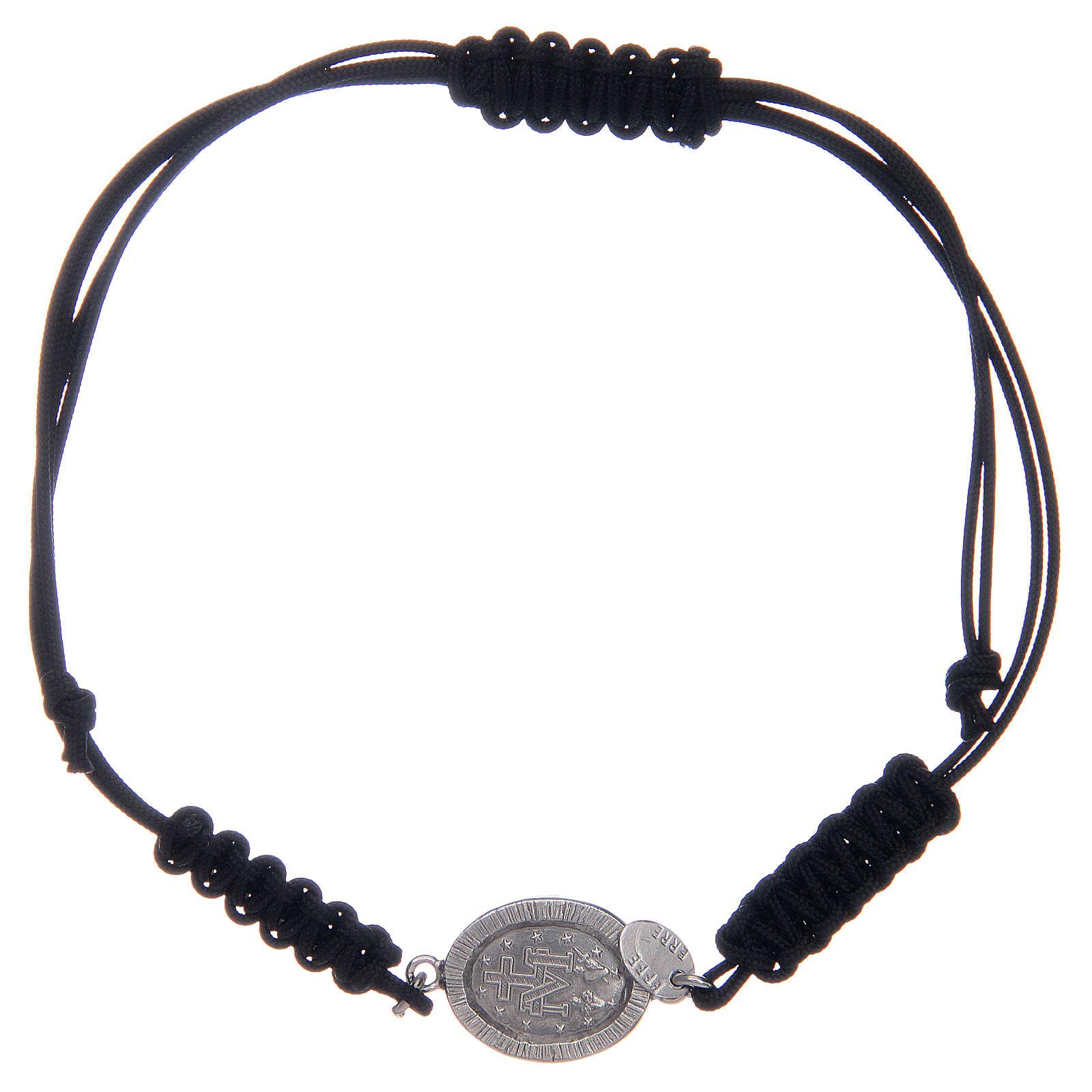 Pulsera cuerda plata 925 Milagrosa plateada zircones negros 4