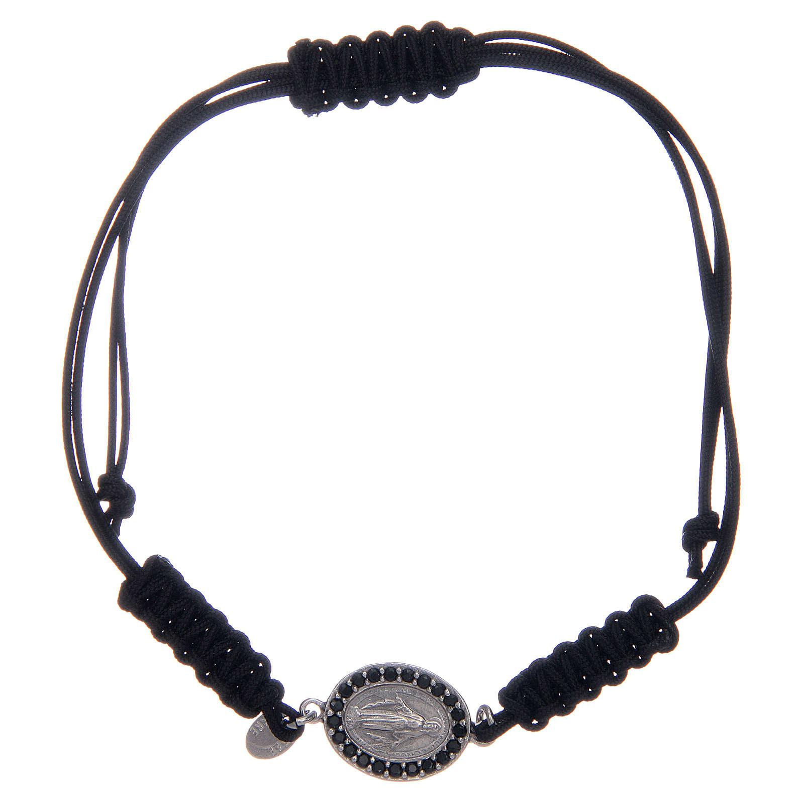 Bracciale cordino argento 925 Miracolosa argentata zirconi neri 4