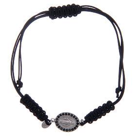 Bracciale cordino argento 925 Miracolosa argentata zirconi neri s1
