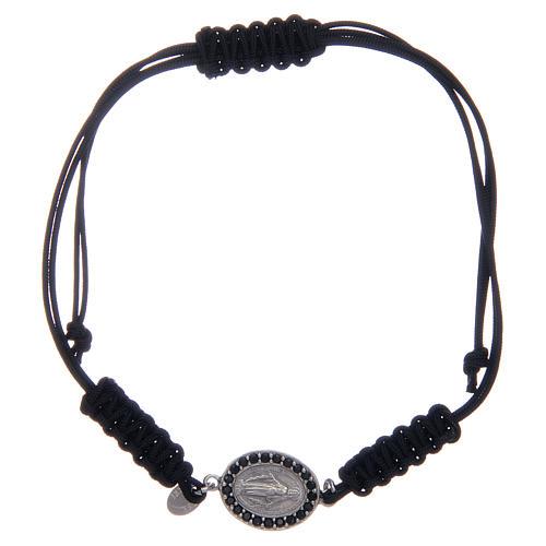 Bracciale cordino argento 925 Miracolosa argentata zirconi neri 1