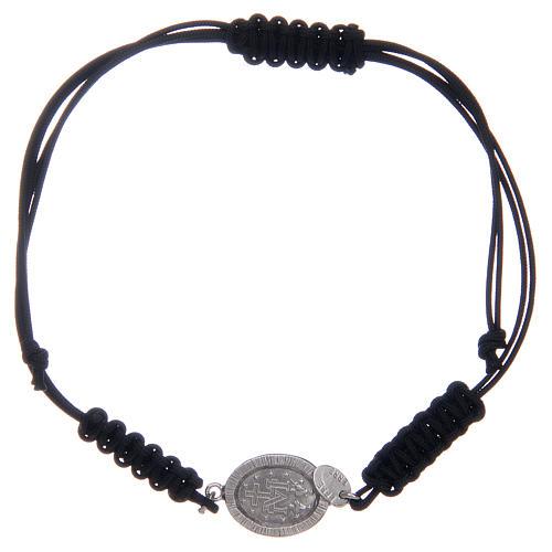 Bracciale cordino argento 925 Miracolosa argentata zirconi neri 2