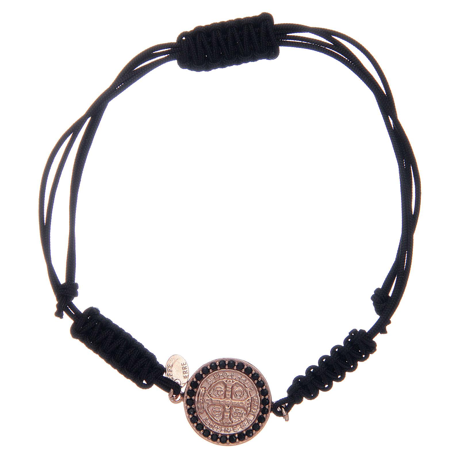 Bracciale cordino argento 925 S. Benedetto rosè zirconi neri 4
