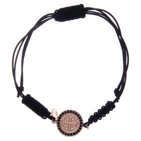 Bracciale cordino argento 925 S. Benedetto rosè zirconi neri s1
