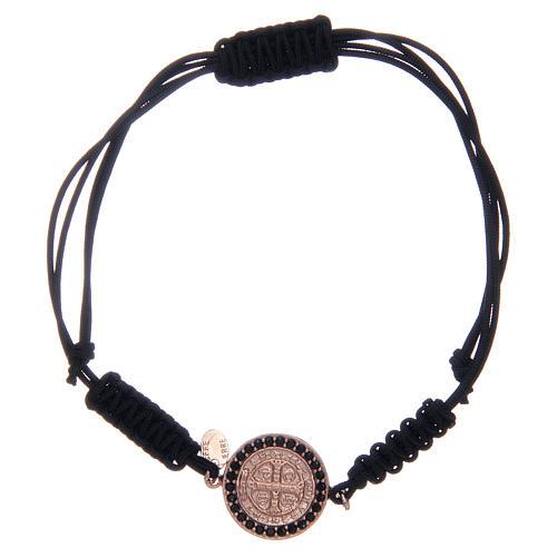 Bracciale cordino argento 925 S. Benedetto rosè zirconi neri 1