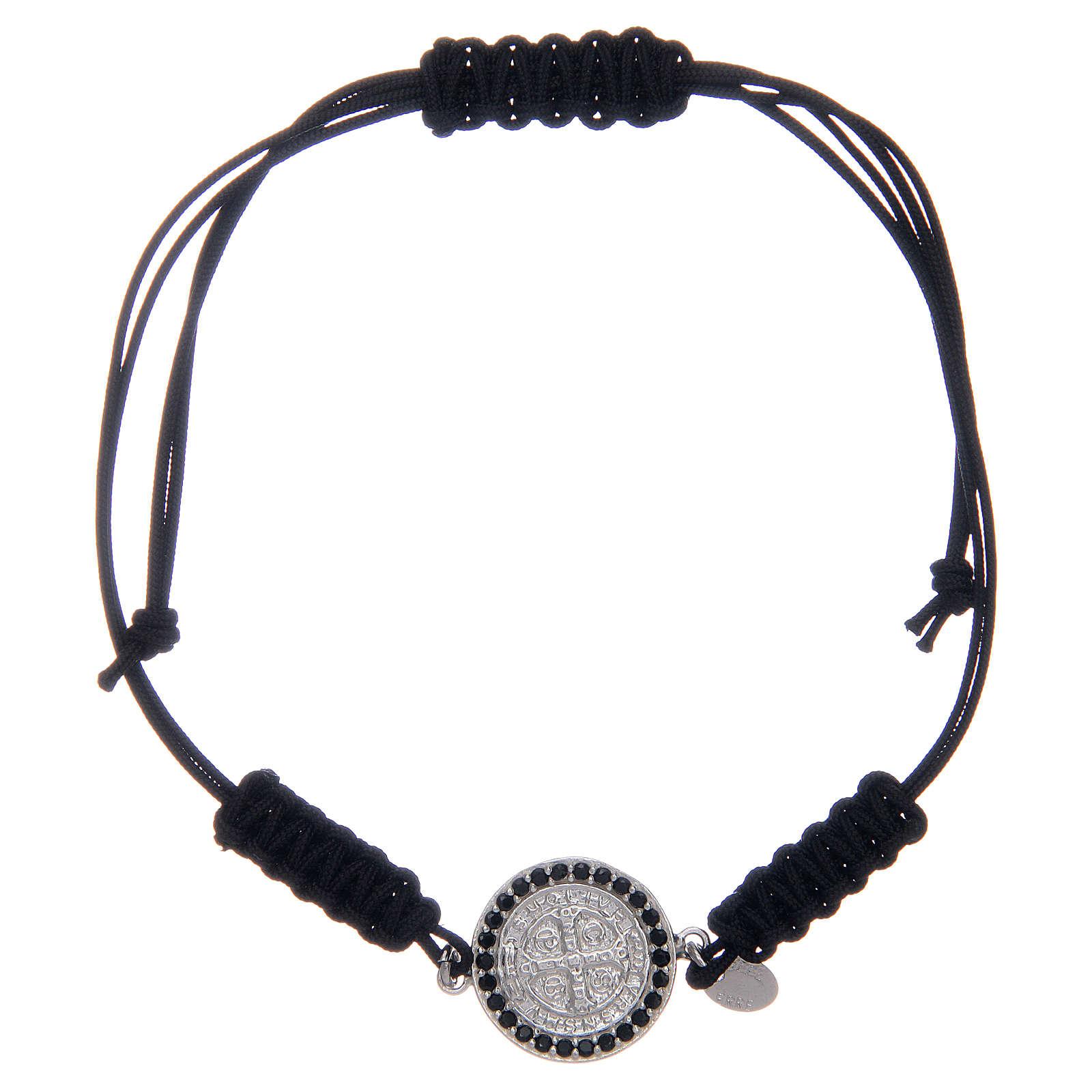 Bracelet in sterling silver Saint Benedict medal with black zircons 4