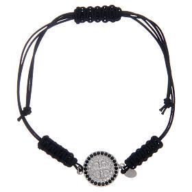 Bracelet in sterling silver Saint Benedict medal with black zircons s1