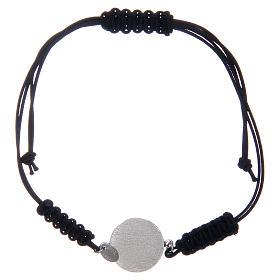 Bracelet in sterling silver Saint Benedict medal with black zircons s2
