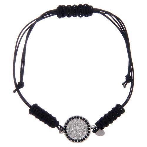 Bracelet in sterling silver Saint Benedict medal with black zircons 1
