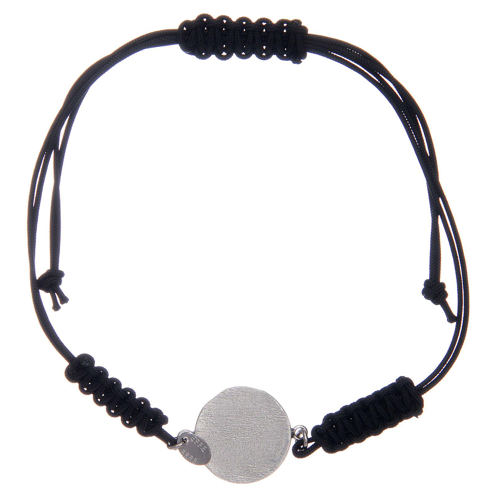 Bransoleta linka srebro 925 Medalik Świętego Benedykta cyrkonie czarne 4