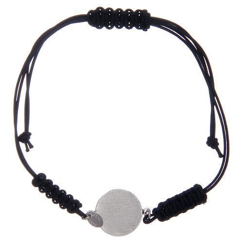 Bransoleta linka srebro 925 Medalik Świętego Benedykta cyrkonie czarne 2