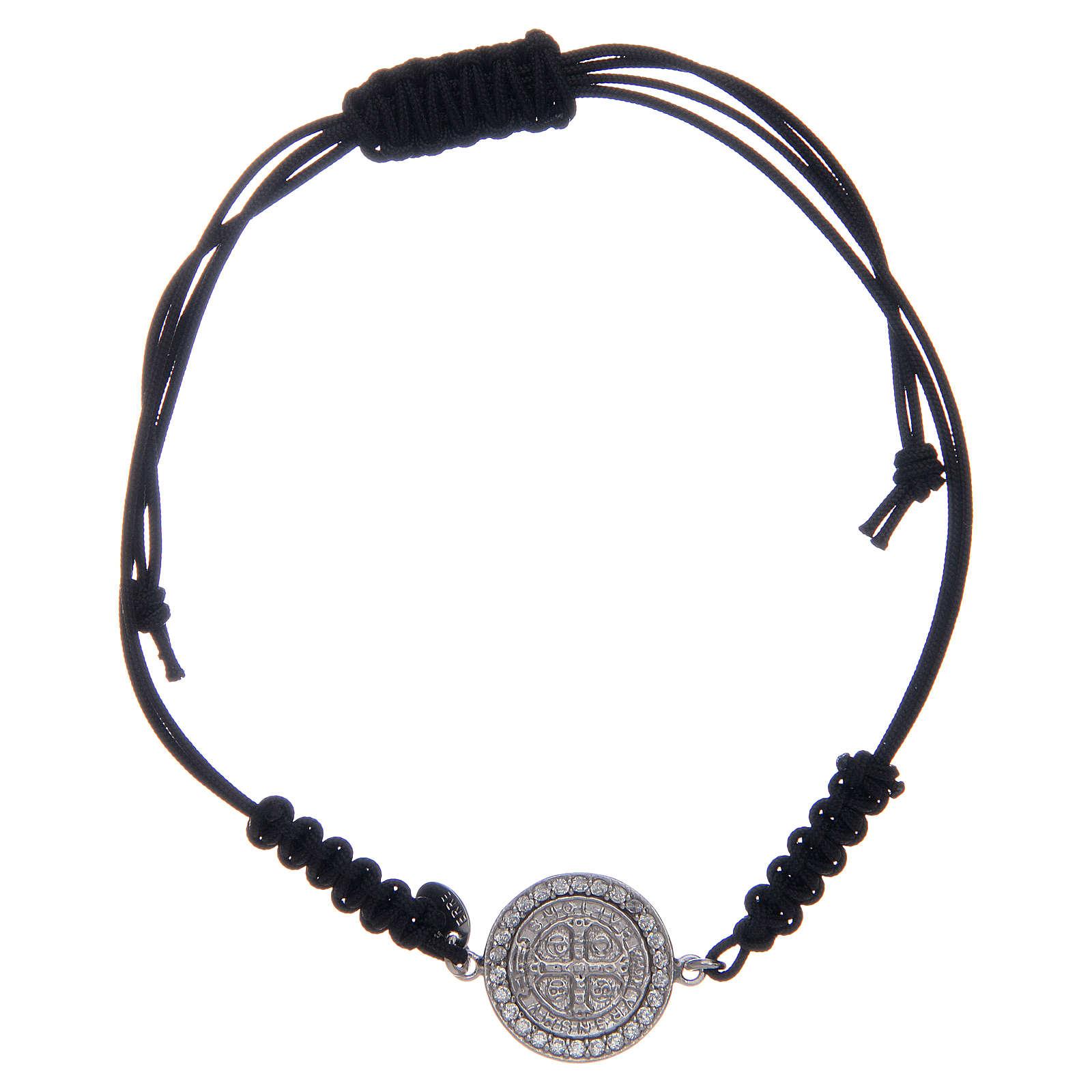 Bracelet corde argent 925 St Benoît argenté zircons blancs 4
