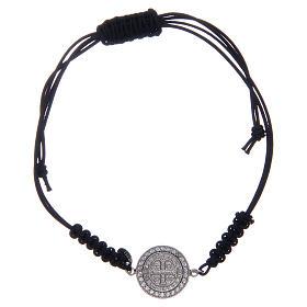 Bracelet corde argent 925 St Benoît argenté zircons blancs s1