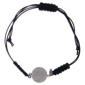 Bracelet corde argent 925 St Benoît argenté zircons blancs s2