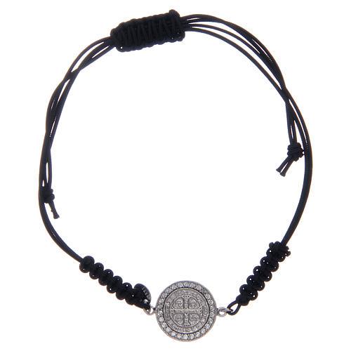 Bracelet corde argent 925 St Benoît argenté zircons blancs 1