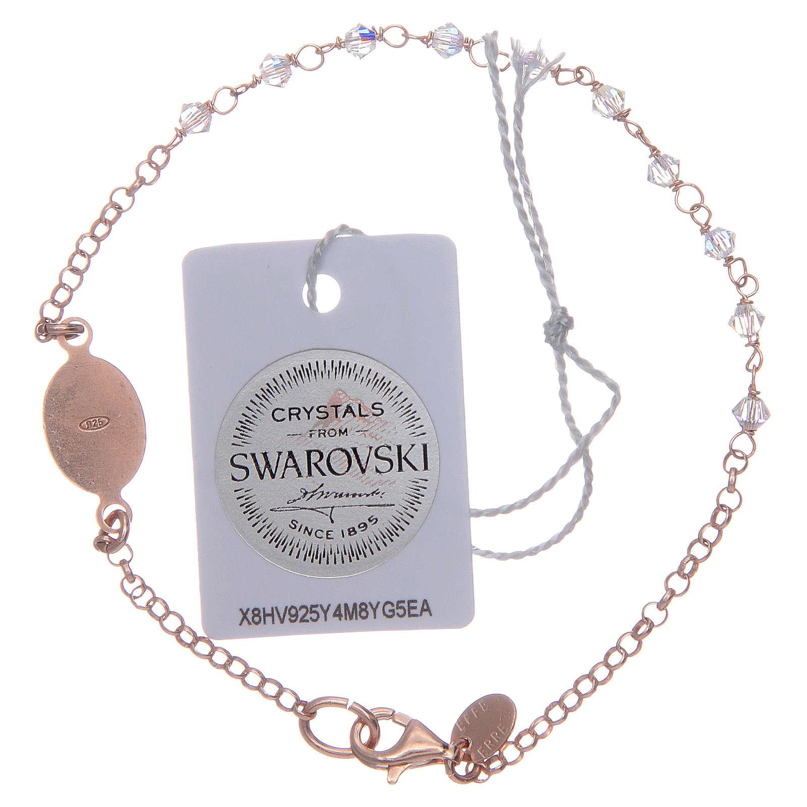 Pulsera plata 925 rosada y Swarovski transparentes 4