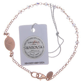 Pulsera plata 925 rosada y Swarovski transparentes s2