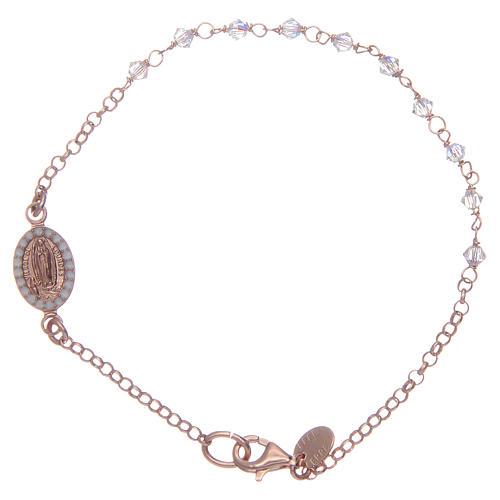Bracciale argento 925 rosato e Swarovski trasparenti 1