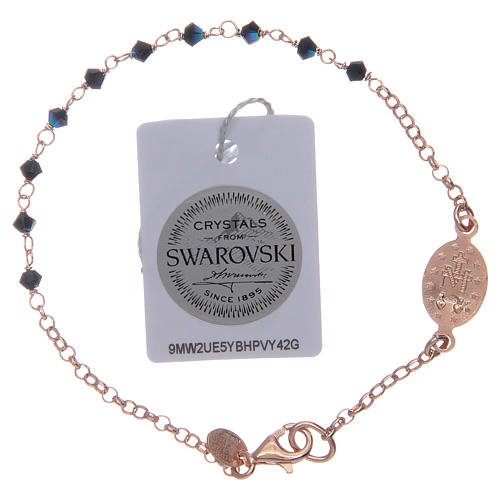 Pulsera rosario plata 925 rosada Swarovski negros 2