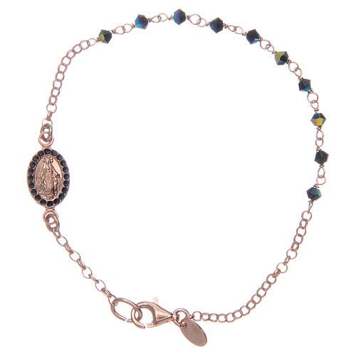 Bracciale rosario argento 925 Swarovski blu 1