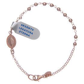 Pulsera rosario plata lúcida 925 rosada s1