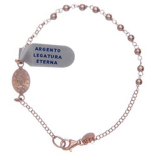 Pulsera rosario plata lúcida 925 rosada 2