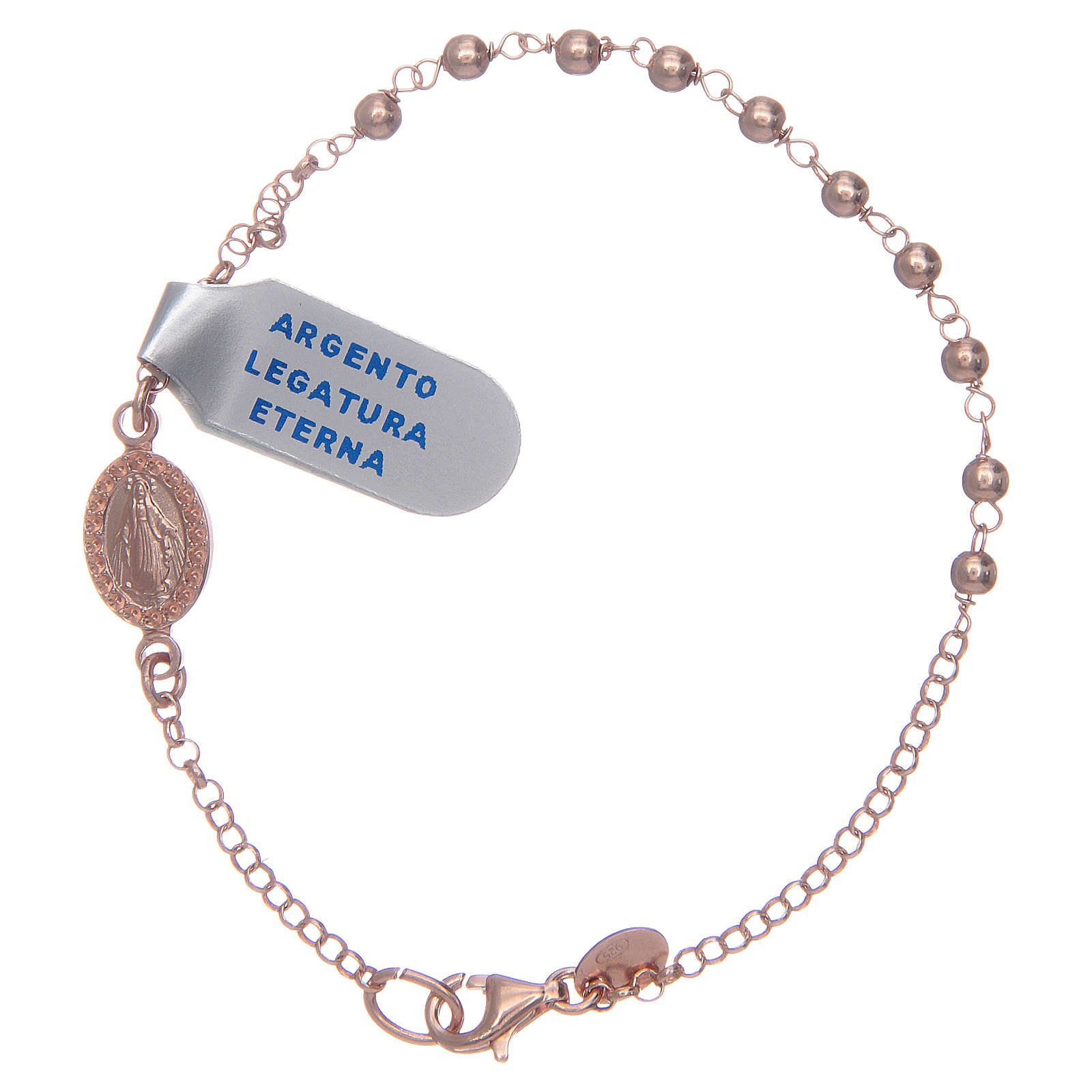 Bracciale rosario argento lucido 925 rosato 4