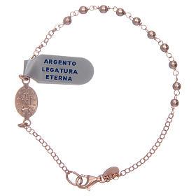 Bracciale rosario argento lucido 925 rosato s2