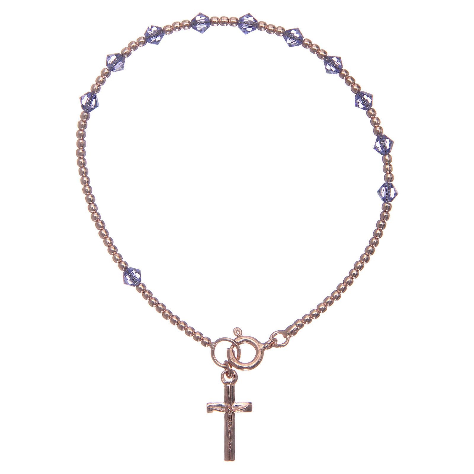 Bracciale rosario argento 925 con grani in Swarovski viola 4