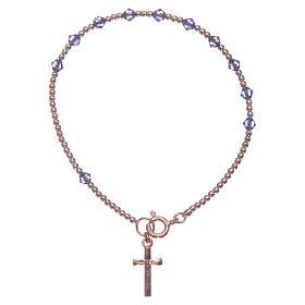 Bracciale rosario argento 925 con grani in Swarovski viola s1