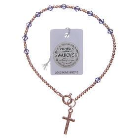 Bracciale rosario argento 925 con grani in Swarovski viola s2