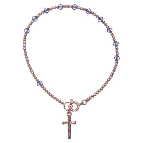 Bracciale rosario argento 925 con grani in Swarovski viola 1