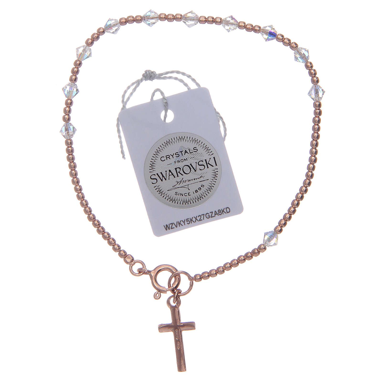 Bracciale rosario argento 925 rosato con Swarovski da 4 mm trasparenti 4