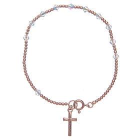 Bracciale rosario argento 925 rosato con Swarovski da 4 mm trasparenti s1
