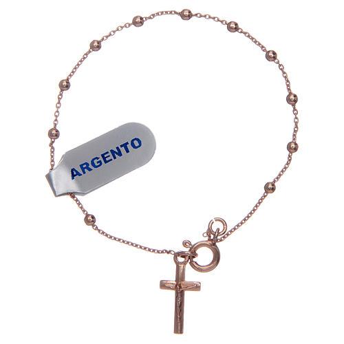 Bracciale rosario in argento 925 rosato 1