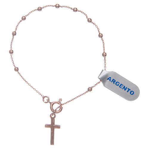 Bracciale rosario in argento 925 rosato 2