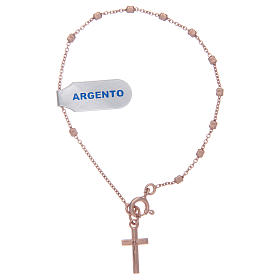 Silver bracelets: Bracelet with cross charm and 2x3 mm beads in pink silver