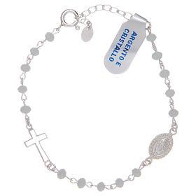 Pulsera rosario de plata 925 y cristal blanco s1
