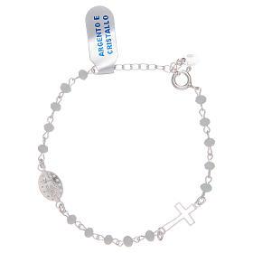 Pulsera rosario de plata 925 y cristal blanco s2