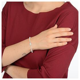 Pulsera rosario de plata 925 y cristal blanco s4