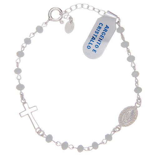 Pulsera rosario de plata 925 y cristal blanco 1