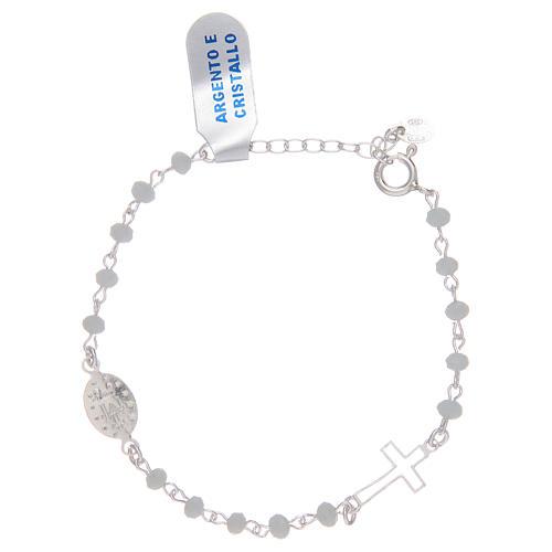 Pulsera rosario de plata 925 y cristal blanco 2