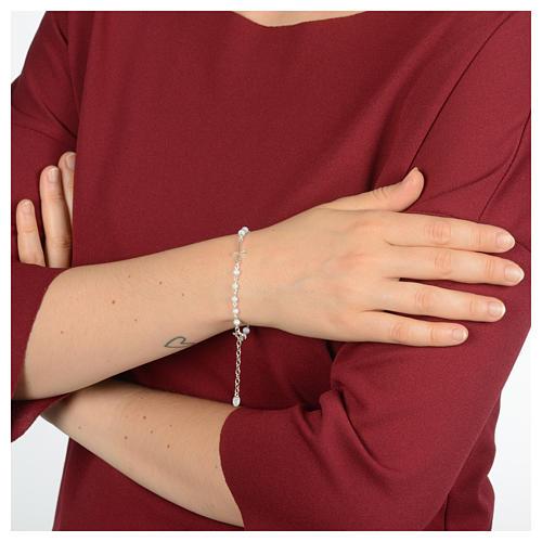 Bracciale rosario in argento 925 e cristallo bianco 3
