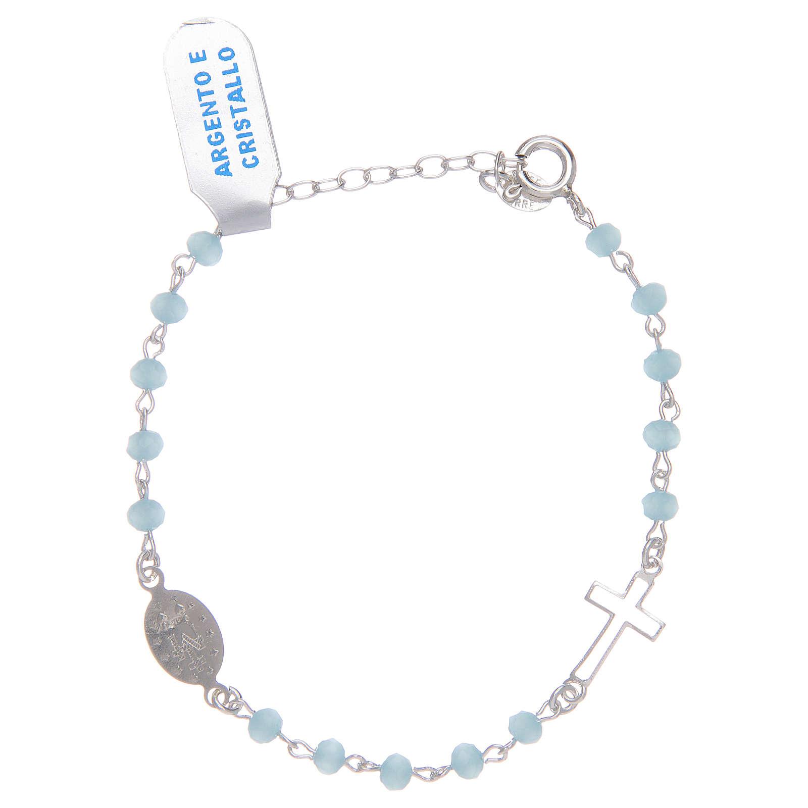 Pulsera rosario cadena de plata 925 y cristal celeste 4