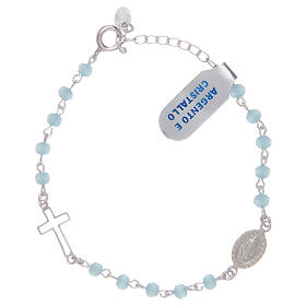 Rosary bracelet with chain 925 sterling silver and light blue crystal s1