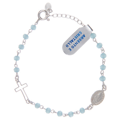 Rosary bracelet with chain 925 sterling silver and light blue crystal 1