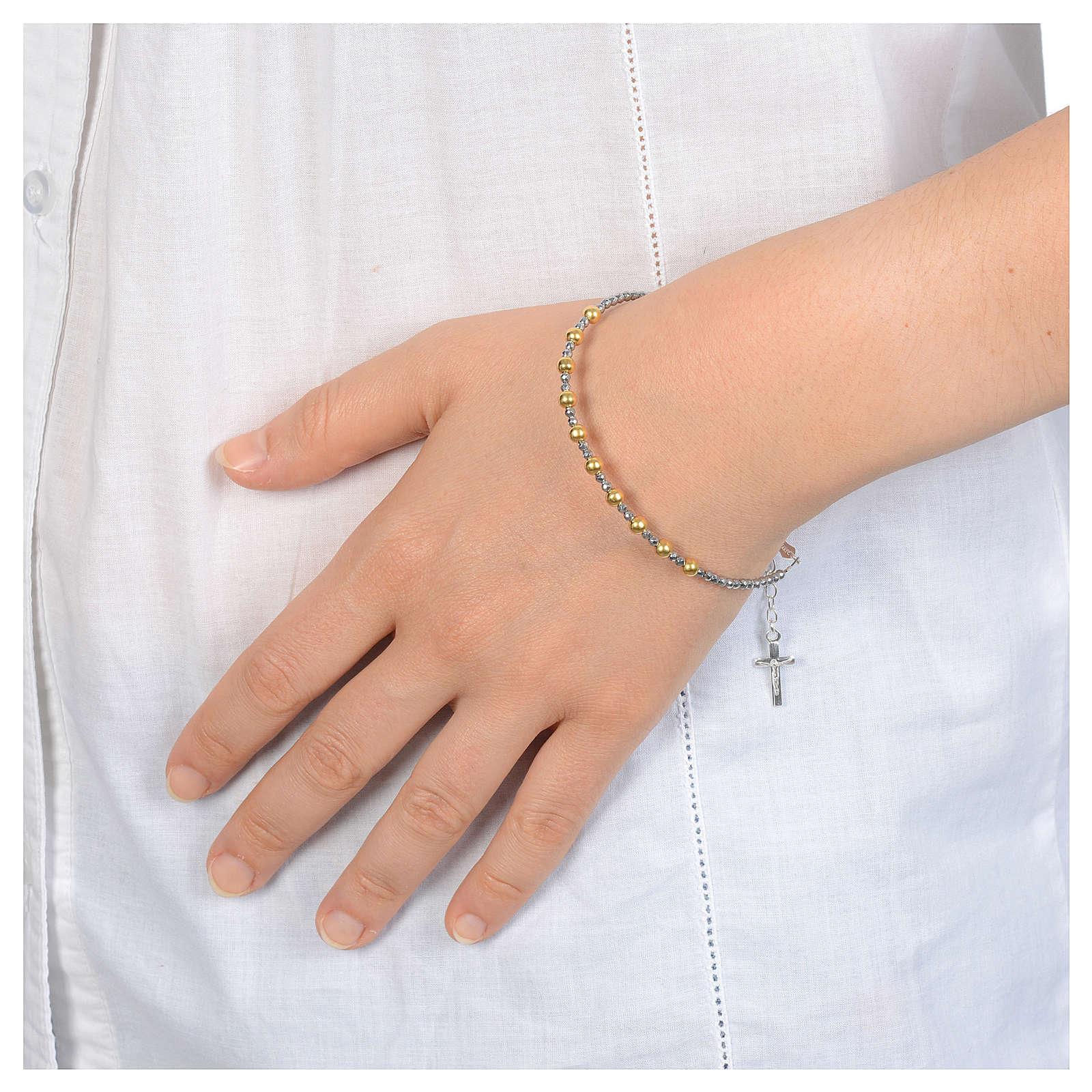 Bracciale in argento 800 con grani lisci dorati 4
