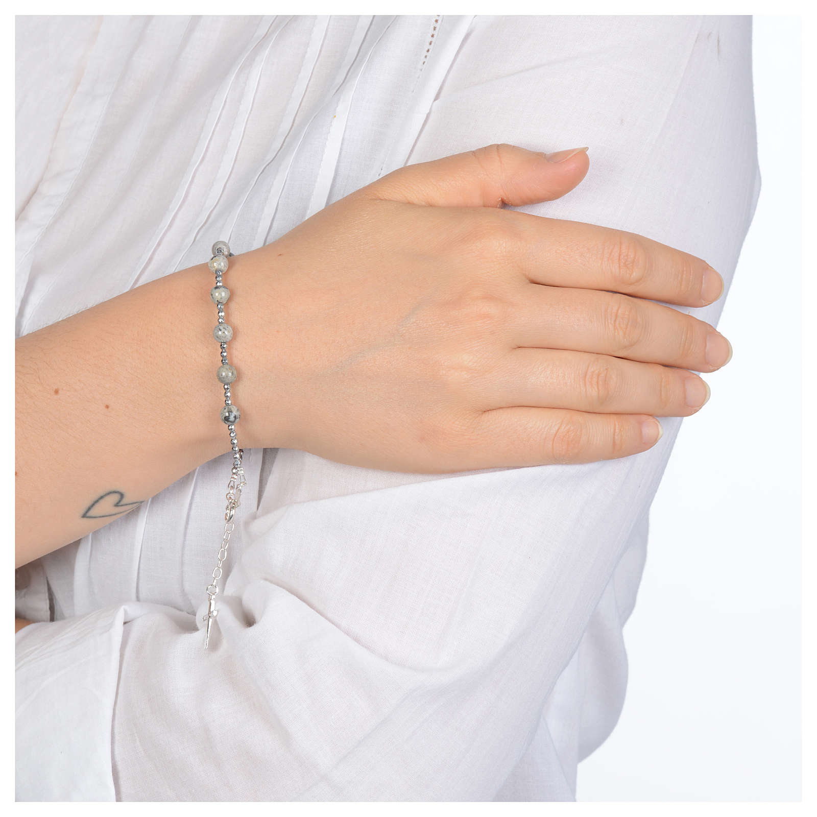 Bracelet in 925 sterling silver and mexican agate grains 5 mm 4