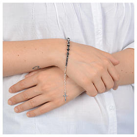 Rosary bracelet in 925 sterling silver and transparent Swarovski s3