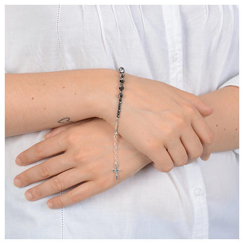 Rosary bracelet in 925 sterling silver and transparent Swarovski 3